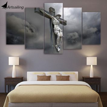 HD Printed 5 Piece Canvas Art Jesus Statue Cross Canvas Painting