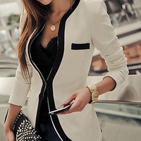 Hot Sale New Fashion Ladies Womens White Black Slim Suit Coat Jacket Blazer = 1929983364