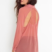 Crochet Racerback Blouse - Coral in  Clothes at Nasty Gal