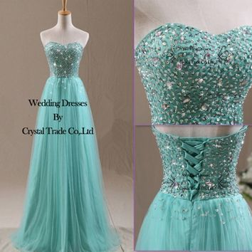 Beading Mint Tulle Wedding Bridesmaid Dress Long Prom Formal Party/Evening Gowns