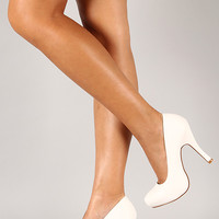 Qupid Trench-01 Leatherette Almond Toe Stiletto Pump