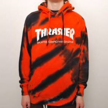 Thrasher Thrasher Skate Mag Tiger Stripe Tie Dye Pullover Hoodie - Orange - Thrasher from Native Skate Store UK