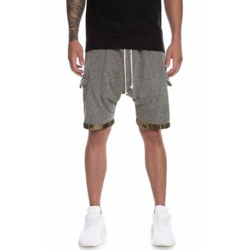 Knit Strapped Cargo Shorts (Olive Camo)