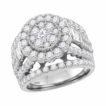 14kt White Gold Womens Princess Diamond Flower Cluster Bridal Wedding Engagement Ring 3.00 Cttw