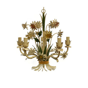 Vintage Toleware Chandelier. French Country Decor. Hand Painted Metal Toleware Lamp. White Flower Lamp. French Chandelier. Tole Light.