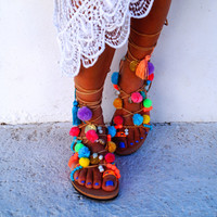 "Tie Up Gladiator ""Misty"" Genuine Leather ethnic sandals, pom pom sandals"