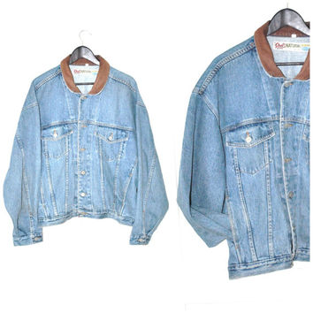 ROOTS denim jacket vintage 80s 90s GRUNGE contrasting LEATHER collar oversized unisex jean jacket large os