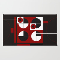 Geometric/Red-White-Black 1 Area & Throw Rug by ViviGonzalezArt
