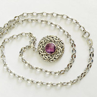 "Romantic and Petite - 14K White Gold 16"" Necklace with Faceted Round Amethyst Stone in Byzantine Pendant, February Birthday"