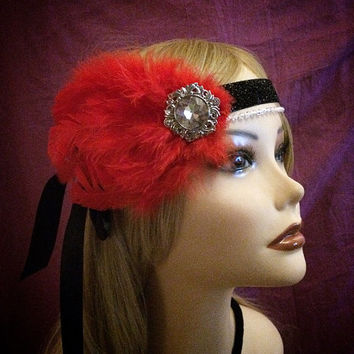 Red 1920s style gatsby flapper headband black sparkly 20s inspired crystal rhinestone headpiece head piece hair 1920's 20's art deco