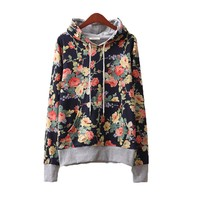 CrazyPomelo Fashion Floral Flowers Casual Cotton Hooded Hoodie for Women (Dark Blue)