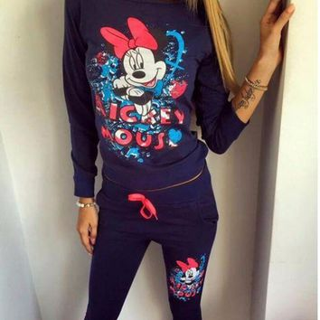 Mickey Fashion Long Sleeve Prints Sportswear Two Piece Set
