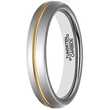 4mm Tungsten Carbide Promise Rings for Couples Polished Center Groove Gold Plated Wedding Band ( Platinum 14k, 18k Yellow Gold)
