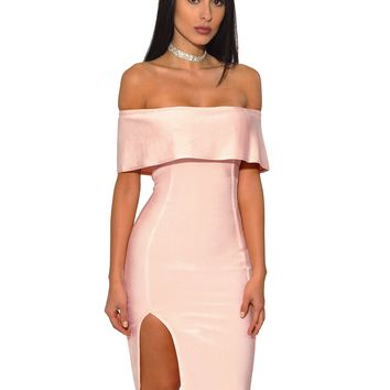 Sarah Pink Bandage Dress with Off Shoulder Overlay