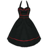 H & R london Black Halter Dress Swing 50's pinup Vintage  Punk Tulle 6851