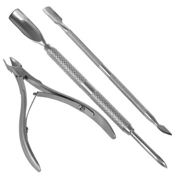 High Quality 3 Pcs Stainless Steel Nail Tool shovel Cuticle Nipper Spoon Pusher Remover Cutter Clipper manicure nail art spoon