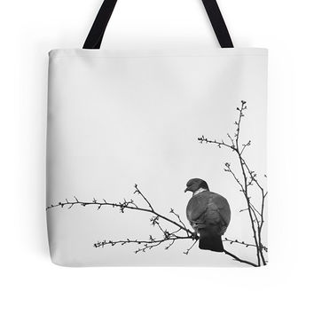 Bird bag, bird tote, black white bag, black white tote, photo bag, photo tote, wearable art, birthday, market bag, shoulder bag, grocery bag