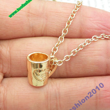 Pretty retro gold 3d cup with heart pattern necklace pendant jewelry vintage style