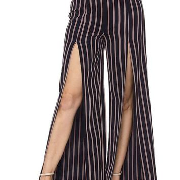 High Front Slit Striped Pants