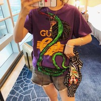 GUCCI sequins snake t-shirt