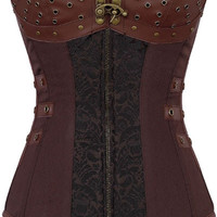 Brown Faux Leather Detail Gothic Corset
