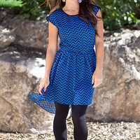 Lace Chevron High Low Dress Blue/Black