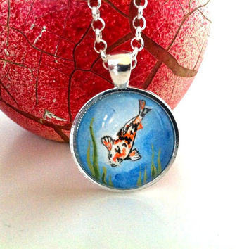 Koi Fish Necklace Silver Painted Pendant Koi Fish Jewelry Handmade Jewellery, Ocean Jewelry, Sea Creature Necklace, Fish Pendant, Cute gifts