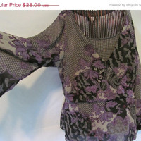 Sheer 2 Pc Purple and Black Blouse Woman size 2XL Victorian Goth Purple and Black 18-20 Blouse