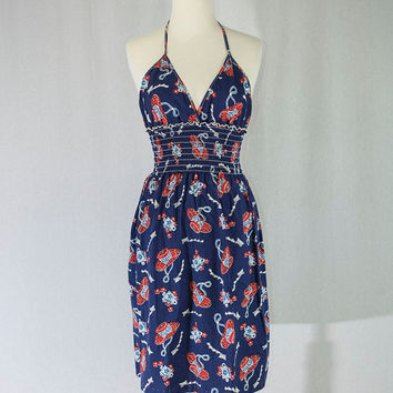 de530d88713a Vintage 1980 s Cowgirl Print Sun Dress Halter Best Novelty Print