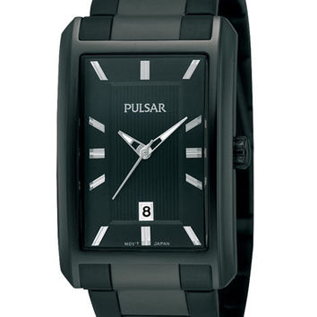 Pulsar Mens Easy Style Watch - Rectangular Black Dial - Date Display
