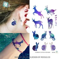 Harajuku waterproof temporary tattoos for lady women sexy Magic color rabbit deer design tattoo sticker Free Shipping R3004