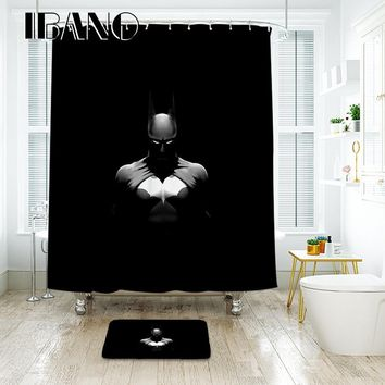 Batman Dark Knight gift Christmas IBANO 3D Batman Black Shower Curtain Waterproof Polyester Fabric Bath Curtain For The Bathroom And The Floor Mat AT_71_6