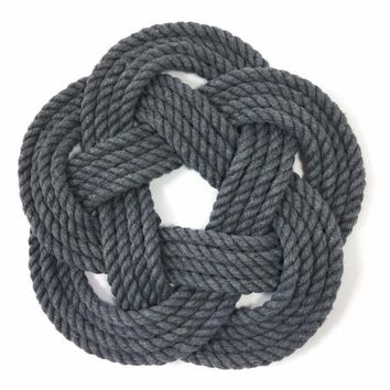 Nautical Sailor Knot Trivet, Gray Cotton Rope, Small
