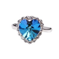 FASHION PLAZA Heart of the Ocean Heart-shaped Ring with Cubic Zirconia R325