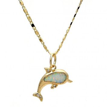 Gold Layered Fancy Necklace, Dolphin Design, with Opal and Micro Pave, Gold Tone