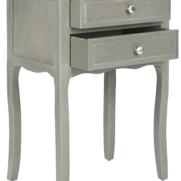 Lori End Table With Storage Drawers French Grey