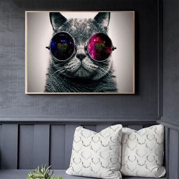 Pop Art Creative Animals Canvas Oil Paintings Galaxy Glasses Cat Posters and Prints Wall Pictures for Bedroom Home Decoration