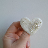 FREE SHIPPING - Wool Felt Pin White Heart Mixed Pearly Beads - Winter Accessory Brooch - Little Gift Idea Under 15 USD