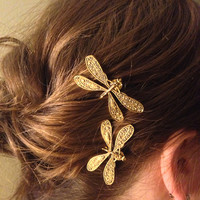 Gold Dragonfly Bobby Pins, Set of Two, Antique Gold, Nickel Free Dragonflies, Dragonflies, Dragonfly Hair Clips,