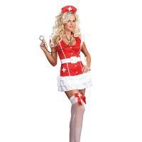 Euro-American Costumes Lovely Sexy Red Lycra With Cap Thong And Sash Nurse Costume [TML0867] - $37.00