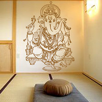 kik483 Wall Decal Sticker Room Decor Wall Art Mural Indian god Ganesha Hinduism welfare bedroom living