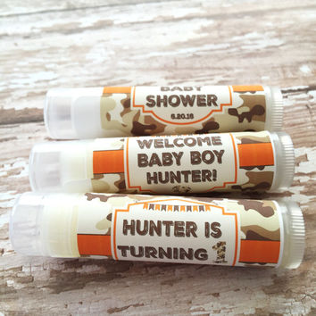 Camo Baby Shower Lip Balm/Set of 5/Green Camo Invitation/ Camo Birthday/It's a Boy Camo/Camo Baby Shower/Camo Personalize