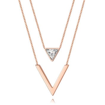Trendy Women Necklaces Pendants Stainless Steel Rose Gold Yellow Gold Silver-Tone With CZ Color Not Fade Female Costume Jewelry