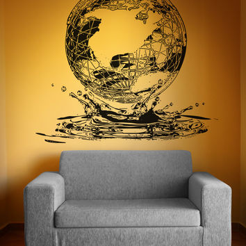 Vinyl Wall Decal Sticker Globe Water Drop #OS_AA1550