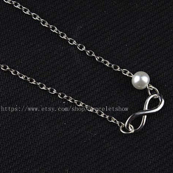 Infinity necklace - bridesmaid gifts - Infinity of pearl necklace, Christmas gift friendship