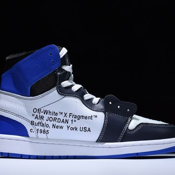 "Off white x Fragment Design x  Nike Air Jordan 1 ""Lightning OW Blue / White/ Black"" Sneakers"