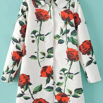 White Rose Print Long Sleeve Coat
