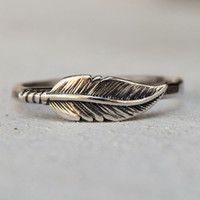 Sterling Silver Feather Ring - Statement Ring - Novelty Ring - Stacking Ring - Feather Jewelry - Bohemian Jewelry - Mothers Day