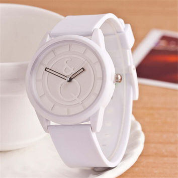 HIGHT QUALITY WOMENS FASHION CASUAL WHITE SILICONE SPORTS WATCH  384