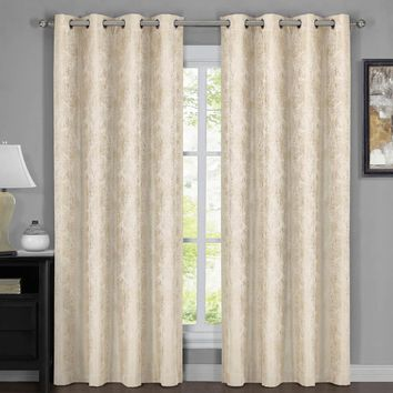 BEIGE 100% Blackout Curtain Panels Bali - Wallpaper Abstrak Theme (Two Panels )